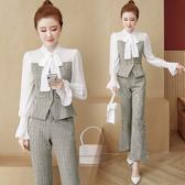 超殺29折 韓國風時尚OL顯瘦格紋背心套裝長袖褲裝