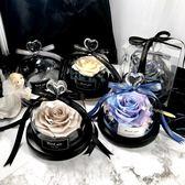 永生花禮盒玻璃罩生日禮品紅色玫瑰花情人節七夕禮物保鮮花送女友交換禮物