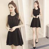 售完即止-黑色連身裙女新品小心機赫本風小黑裙修身顯瘦無袖夏季小個子11-3(庫存清出T)