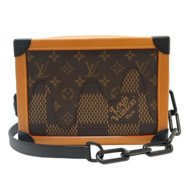LOUIS VUITTON 路易威登 NIGO聯名款棕色原花拚牛皮Soft Trunk小盒子斜背包 BRAND OFF