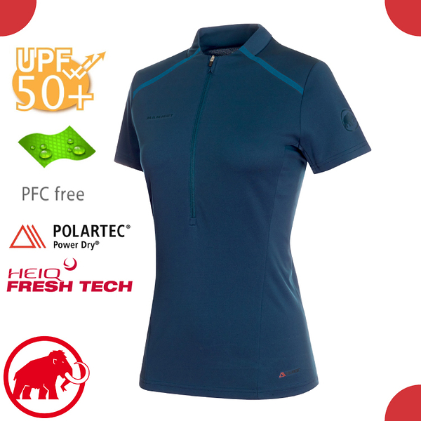 【MAMMUT 女 Atacazo Light Zipped T-Shirt 短袖立領半開襟《藏青》】1017-00120/T恤