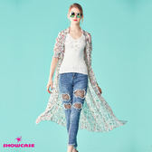【SHOWCASE】小碎花印花縮腰長版雪紡洋裝/外套(白)