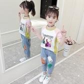 女童洋氣t恤新品夏裝小女孩寬鬆短袖上衣 兒童裝正韓半袖t恤衫 鉅惠85折