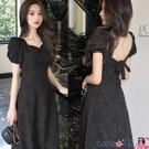 熱賣露背洋裝 法式赫本風小黑裙2021年夏季新款氣質中長款露背收腰復古連身裙女 coco