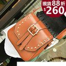 斜背包-現貨販售-新款時尚金色鉚釘側背包...