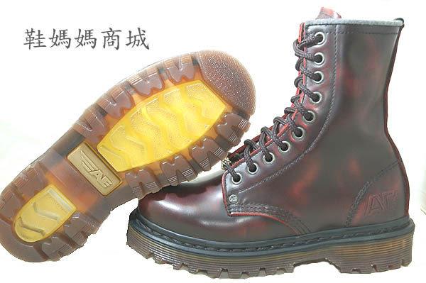 【鞋媽媽】[女]美國AE馬丁鞋*真皮黑色紅花紋10孔高筒靴*US3號日規21號(小腳鞋)*ae240