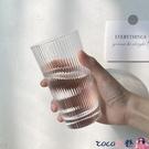 熱賣玻璃杯 玻璃杯風vintage杯子咖啡杯簡約日式細條紋水杯女韓國清新可愛 coco