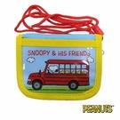 【日本進口正版】史努比 Snoopy 水藍款 掛繩 小錢包 小皮夾 零錢包 PEANUTS - 293381