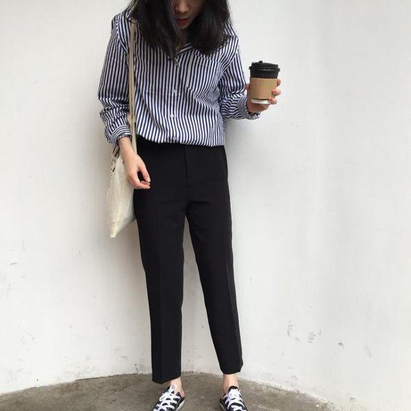 [協貿國際]黑色煙管西裝褲直筒九分褲寬松顯瘦休閑褲1入
