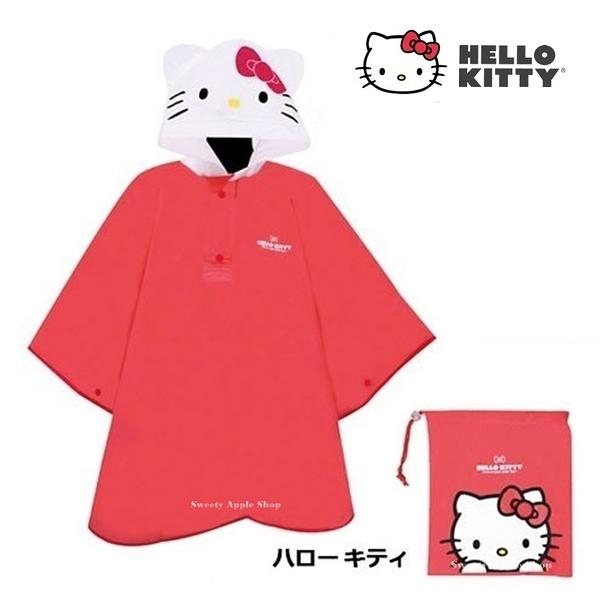 日本限定 三麗鷗 HELLO KITTY 凱蒂貓 大臉版 兒童 雨衣 (115~125cm)