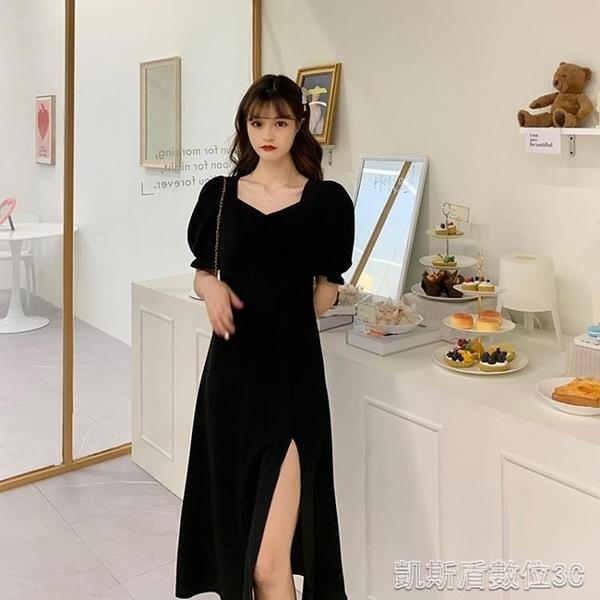 秋季設計感小眾氣質年新款女秋收腰顯瘦法式復古黑色洋裝子秋裝 凱斯盾