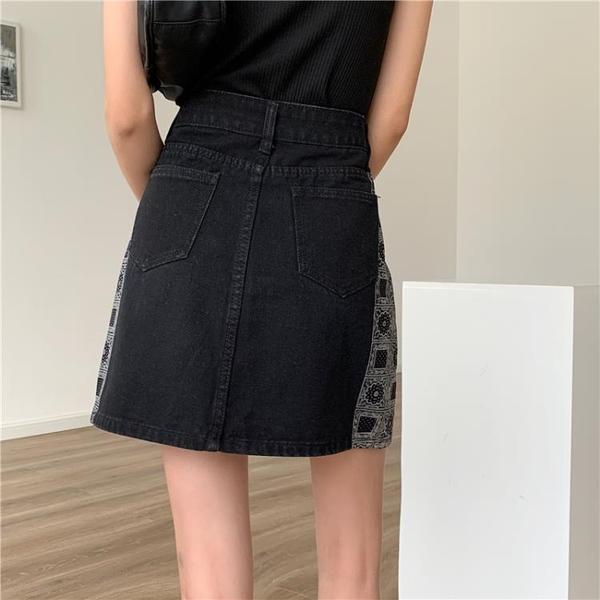 腰果花牛仔短裙女夏a字裙个性高腰显瘦大码半身裙ins潮1F127.依品國際