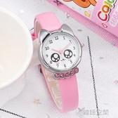韓版兒童手錶女孩男孩中小學生女童電子石英錶卡通可愛防水皮帶錶  韓語空間