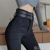 鉛筆褲百搭緊身高腰彈力牛仔褲女士春秋季新款顯瘦小腳鉛筆褲黑色長褲子 快速出貨