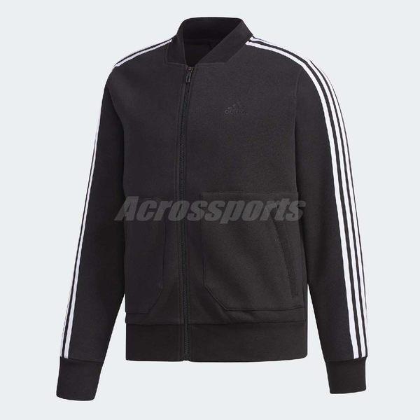 adidas 運動外套 EI TT JAQ Bomb 黑 白 三條線 飛行夾克 基本款 男款 【PUMP306】 DT2474