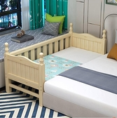 實木兒童床組加寬床拼接床大床拼小床邊床兒童男孩女孩公主床帶圍欄