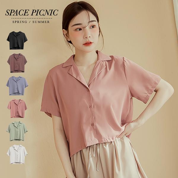 襯衫 Space Picnic|小劍領短版短袖襯衫(現貨)【C20062046】