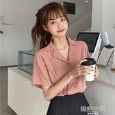 短袖2020新款薄款女士襯衫小心機設計感小眾夏短款少女感雪紡上衣 【韓語空間】