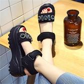 仙女風chic厚底涼鞋女夏2021新款網紅百搭增高水鑚鬆糕高跟羅馬鞋【快速出貨】
