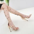 長靴女高跟鞋 性感時尚夜店高邦鏤空羅馬涼鞋 長筒細帶女高跟涼鞋