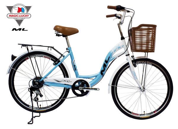 24吋6速淑女通勤車 SHIMANO變速系統 低跨點附有籃子 牛奶車 美騎樂自行車 ML-173A 台灣組裝