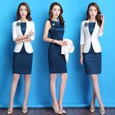 2018職業裝女裝套裝時尚西裝連身裙ol氣質工作服女春夏正裝套裝裙  巴黎街頭
