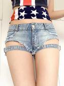 夏季新款歐美性感綁帶鏤空低腰超短牛仔褲短裙熱褲潮【販衣小築】