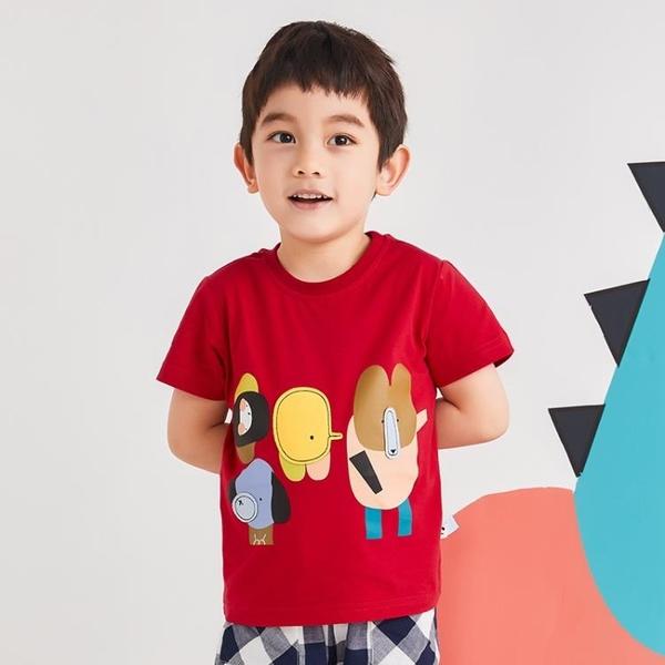 男童t恤寶寶短袖兒童上衣2021夏季新款純棉印花體恤衫洋氣 茱莉亞