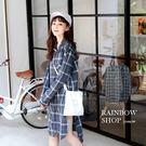 休閒撞色格紋長版襯衫-L-Rainbow【A453515】