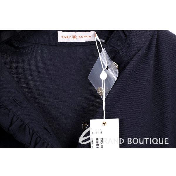 TORY BURCH 深藍色抓摺荷葉造型短袖上衣 1540205-34