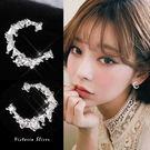 925純銀針  韓國優雅氣質  滿鑽月亮...