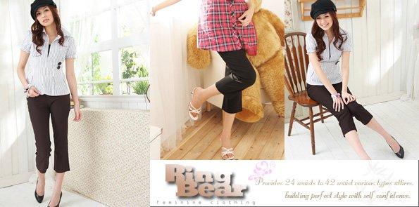 顯瘦--給你一個涼爽的夏日-中腰素面細身實搭微喇叭棉麻七分褲(黑.咖S-7L)-S13眼圈熊中大尺碼