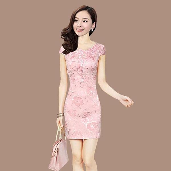 新款夏季改良時尚中式少女短款旗袍洋裝宴會顯瘦優雅禮服