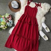 夏新款純色綁肩帶系蝴蝶結連身裙復古吊帶收腰顯瘦大擺中長裙