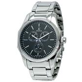 【台南 時代鐘錶 SIGMA】藍寶石鏡面 三眼日期 鋼錶帶男錶 1018M-1 黑/銀 42mm 平價實惠的好選擇