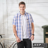 【JEEP】造型刺繡格紋短袖襯衫-藍