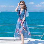 波西米亞長裙2019夏裝波西米亞雪紡海邊度假沙灘裙顯瘦吊帶連衣裙長裙兩件套女『櫻花小屋』