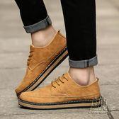 夏季新款男士布洛克小皮鞋黃色英倫風男鞋子百搭潮時尚休閒工裝鞋 自由角落