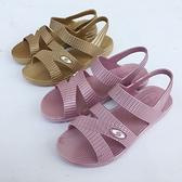 夏季女塑膠中老年媽媽老人涼鞋平跟露趾防水台百搭防滑女士一體鞋【快速出貨】