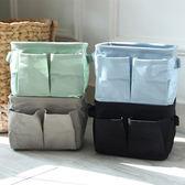 ✭慢思行✭【N265】雙邊袋棉麻收納盒 辦公 風格 居家 裝飾 可折疊 環保 布藝 簡約 可愛