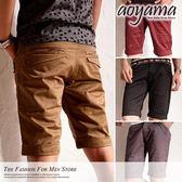 青山AOYAMA 【DC421】韓版高品質緞面質感口袋層次剪裁窄版合身素面短褲/工作褲4色