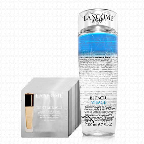LANCOME蘭蔻 高效卸妝潔膚水200ml+水感奇蹟恆久光粉底1mlx12