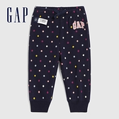 Gap嬰兒 Logo可愛印花鬆緊針織褲 619646-海軍藍