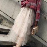 蛋糕裙網紗半身裙紗裙秋女的裙子中長款高腰層層不規則