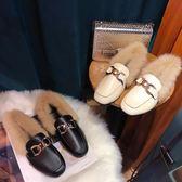 毛毛鞋女秋冬新款外穿時尚懶人鞋社會包頭平底單鞋加絨棉瓢鞋   琉璃美衣