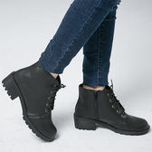 女款 MIT素面百搭繫帶側拉練低跟 短靴 馬丁靴 機車靴 59鞋廊