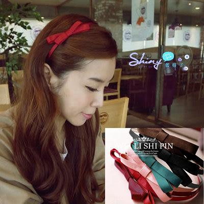 【60A77】shiny藍格子-可愛蝴蝶結髮圈/髮箍。六色
