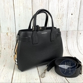 BRAND楓月 BURBERRY 黑色 拼接 格紋 手提包 斜背包