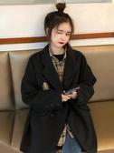 秋裝2019新款中長款寬鬆學院風氣質西裝領呢子大衣女長袖毛呢外套 嬌糖小屋