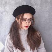 日系網紅百搭貝雷帽韓版女潮英倫蓓蕾帽子天ins黑色可愛   米菲良品   米菲良品